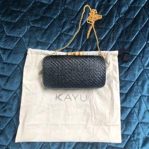 Kayu black clutch bag with bamboo closure